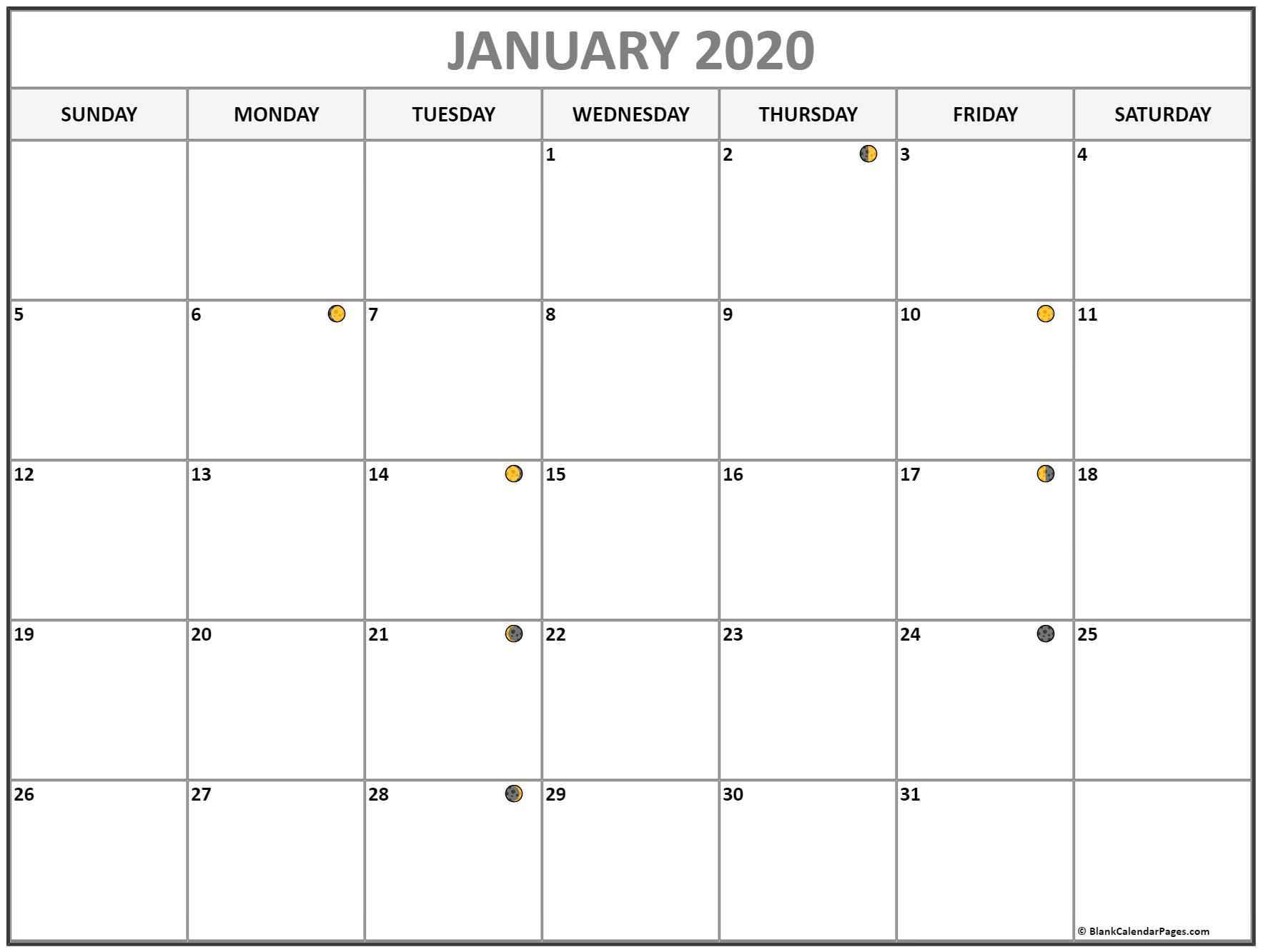 January 2020 Lunar Calendar | Moon Phase Calendar