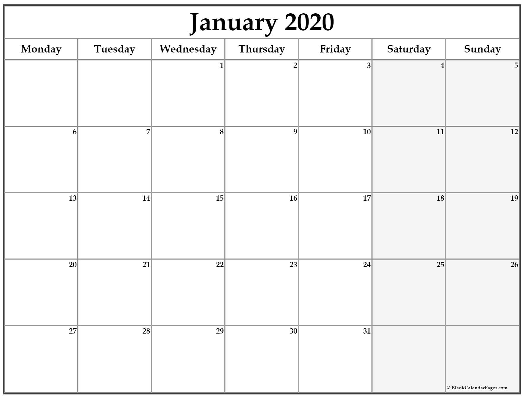 January 2020 Monday Calendar   Monday To Sunday