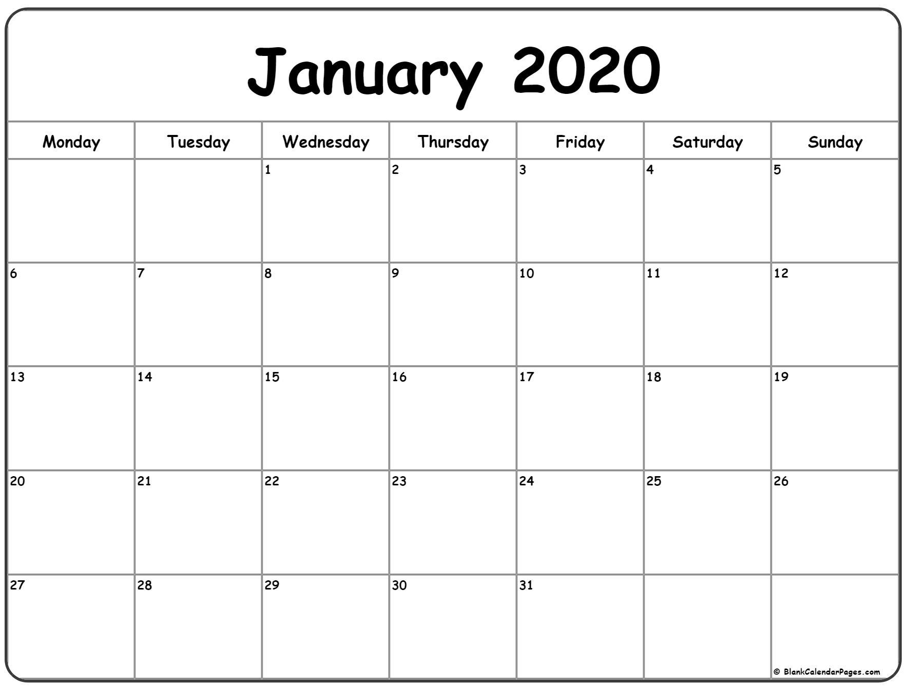 Catch January Printable Monday Through Friday Calendar 2020