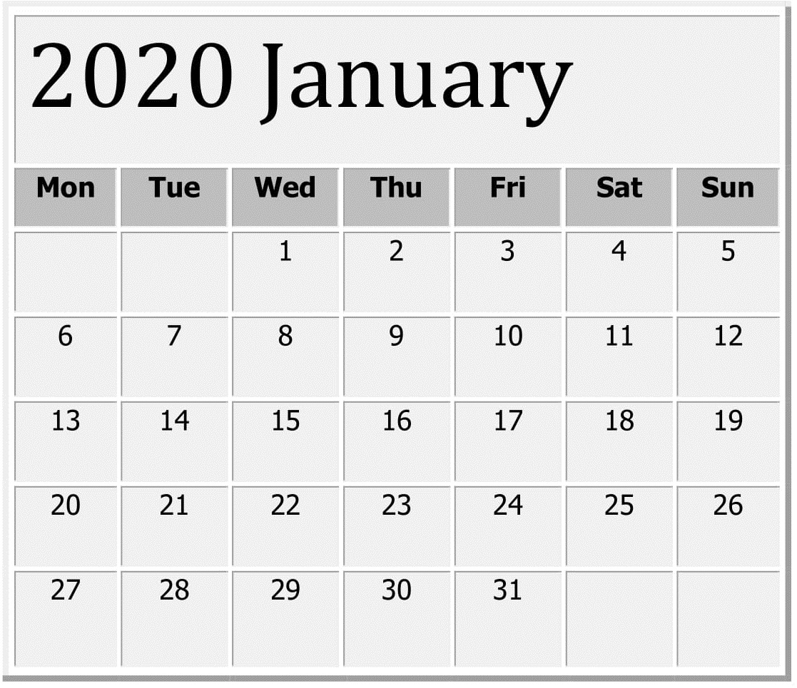 January 2020 Printable Calendar Large Print – Free Latest