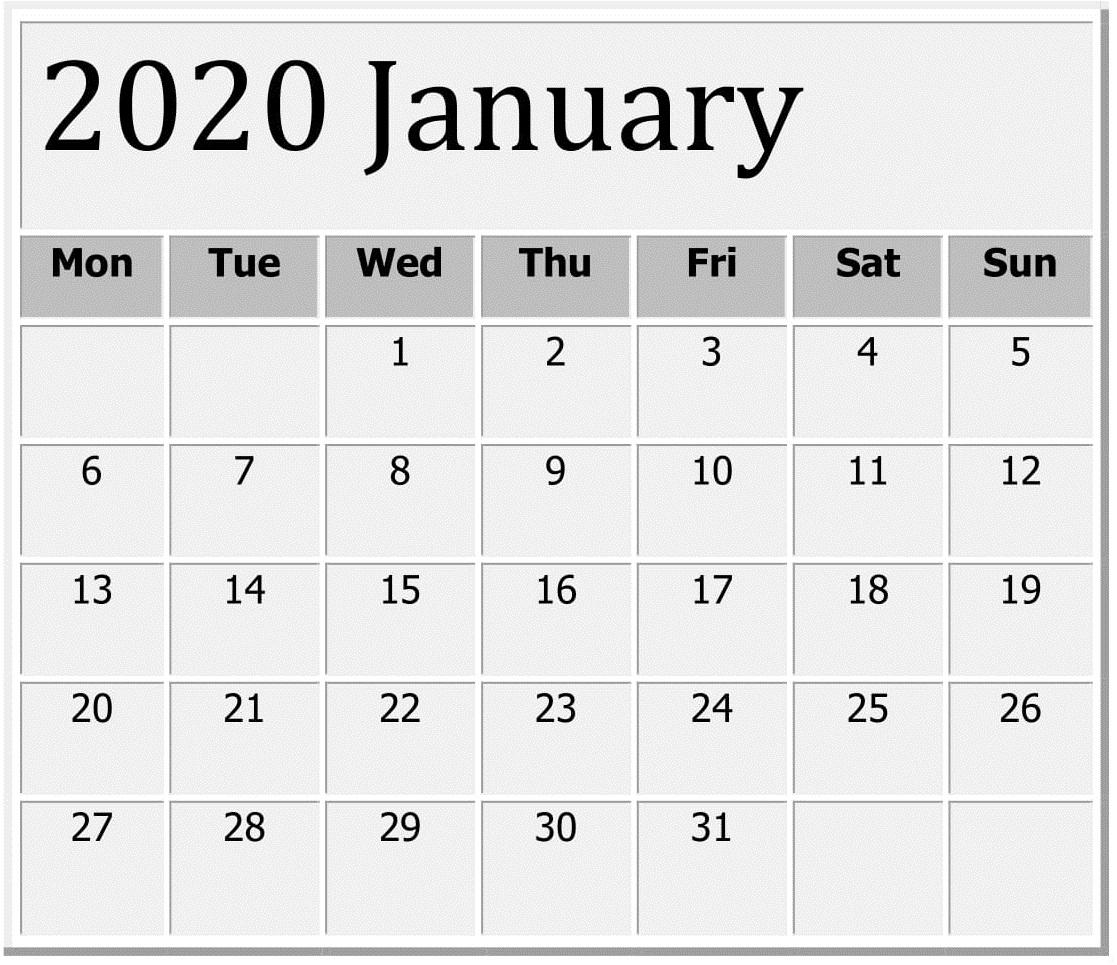 January 2020 Printable Calendar Large Print – Free Latest