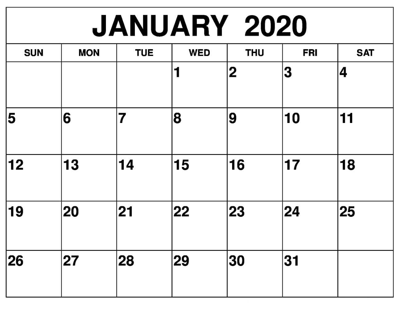 January 2020 Printable Calendar Monthly   12 Month Printable