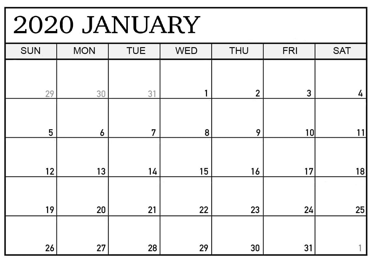 January 2020 Printable Calendar Pdf Layout | Free Printable