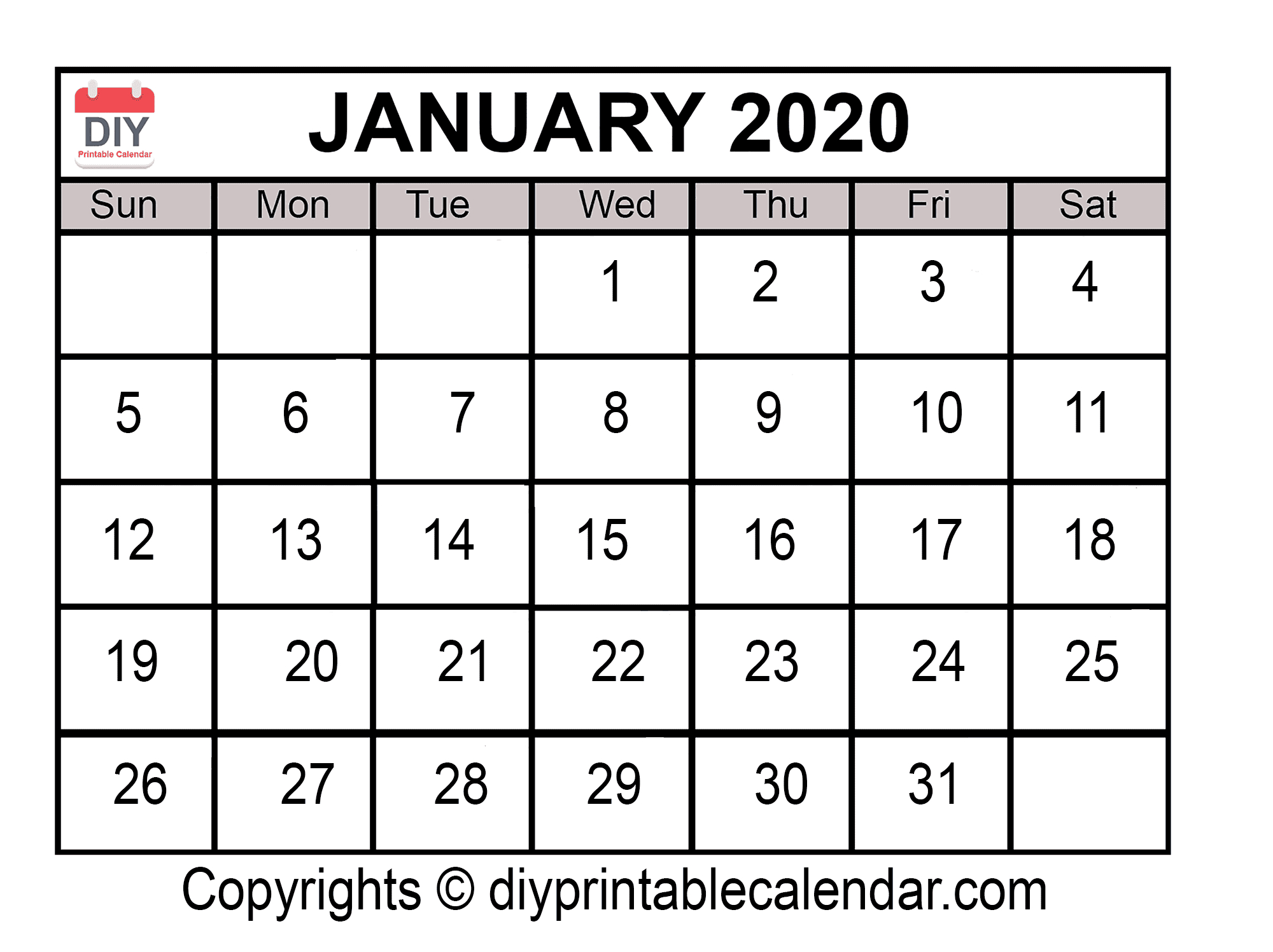 January 2020 Printable Calendar Template