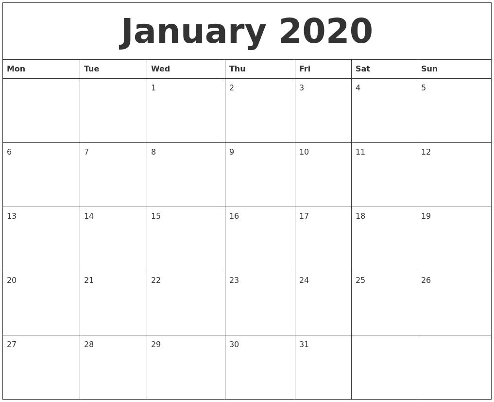 January 2020 Printable December Calendar