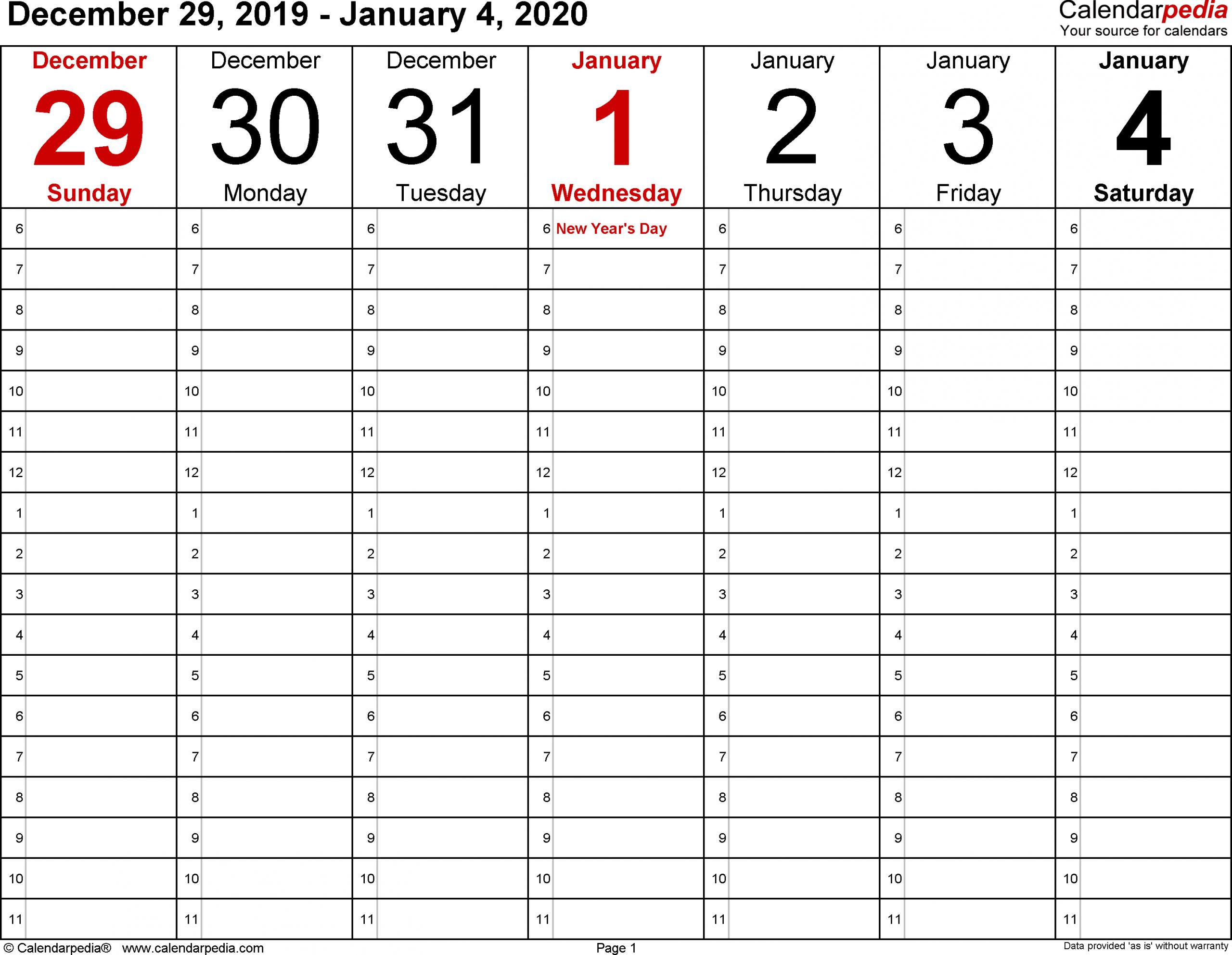 January 2020 Weekly Calendar | Calendar 2019 Template