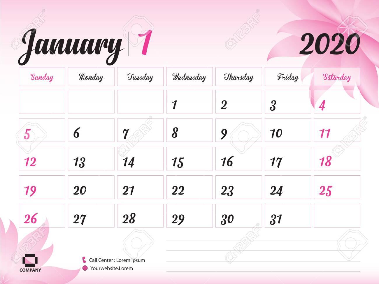 January 2020 Year Template, Calendar 2020, Desk Calendar Design,..