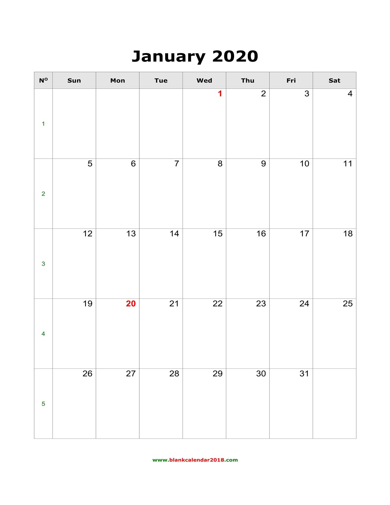 January Blank Calendar 2020 - Togo.wpart.co