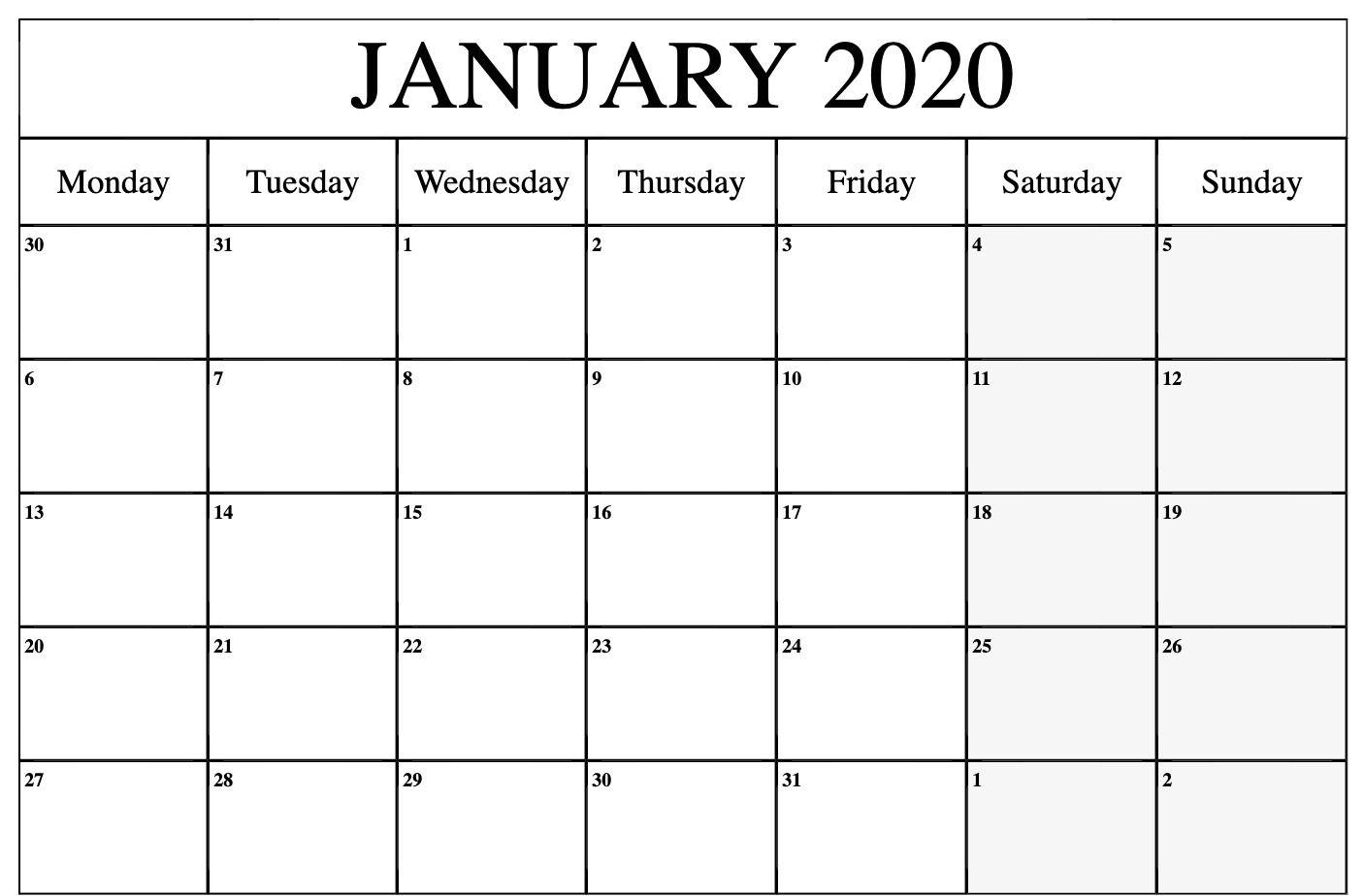 January Calendar 2020 Pdf | Printable Calendar Template