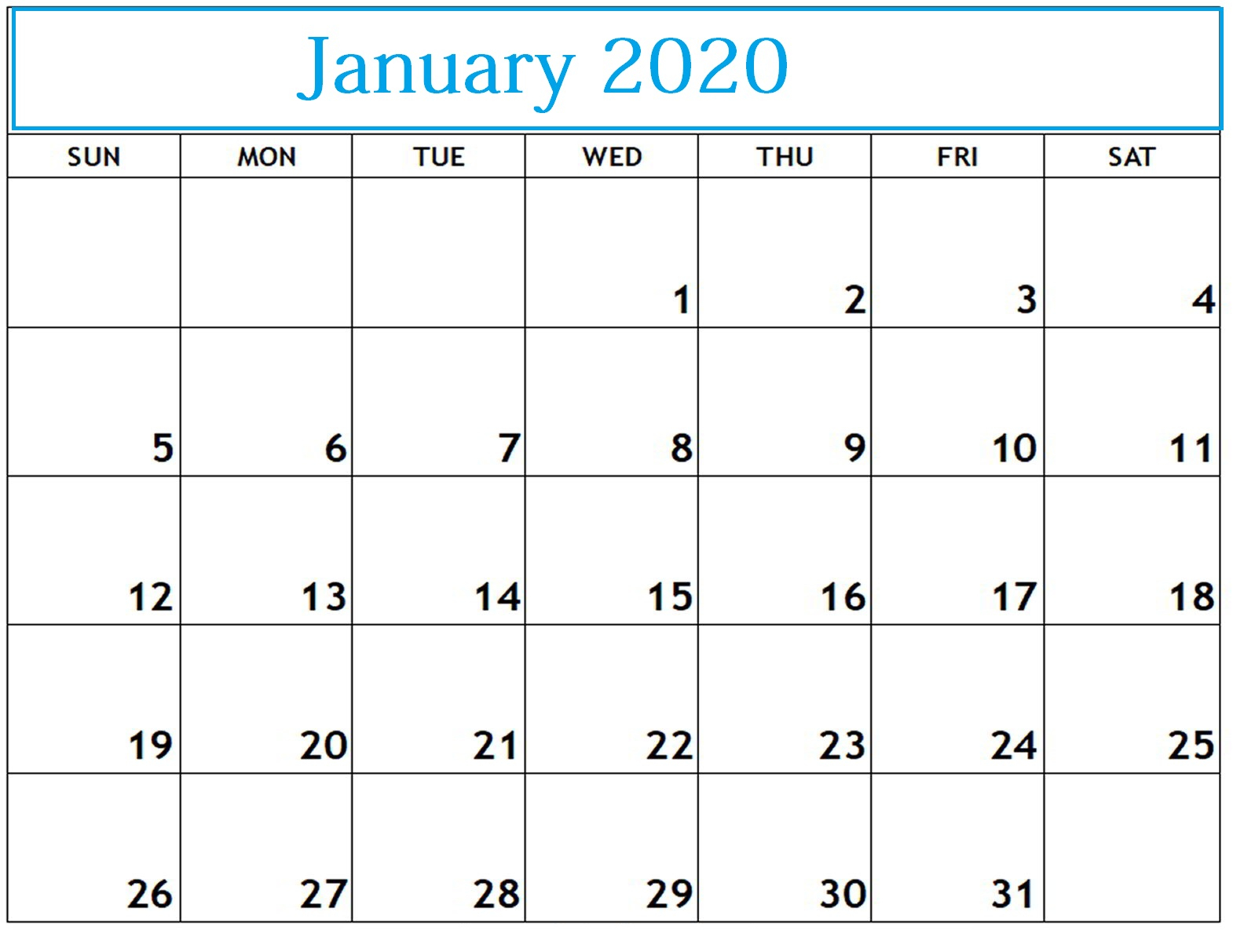 January Calendar 2020 Printable With Holidays | Printable