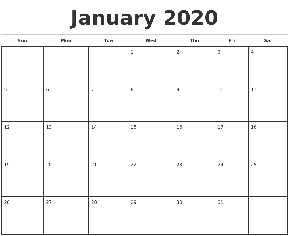 January Calendar 2020 Template - Togo.wpart.co