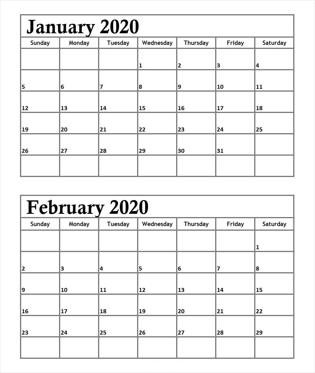 January February 2020 Calendar Daily Calendar Printable | 12