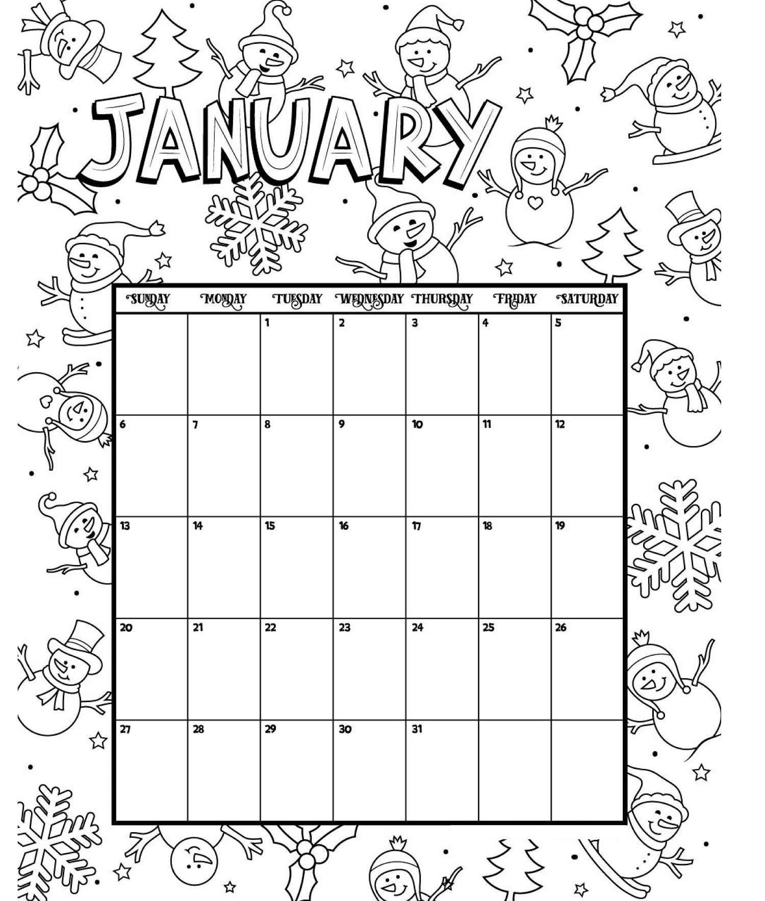 January Printable Coloring Calendar 2019   Coloring Calendar