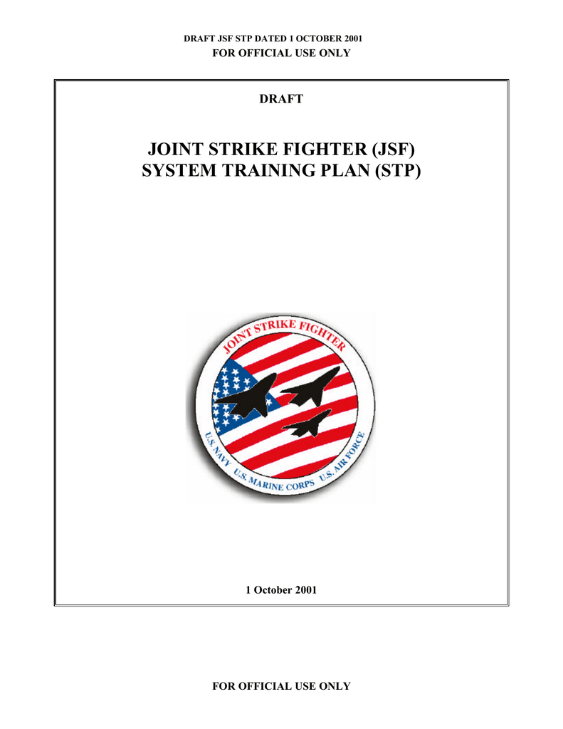 Joint Strike Fighter (Jsf) System Training Plan (Stp) Draft