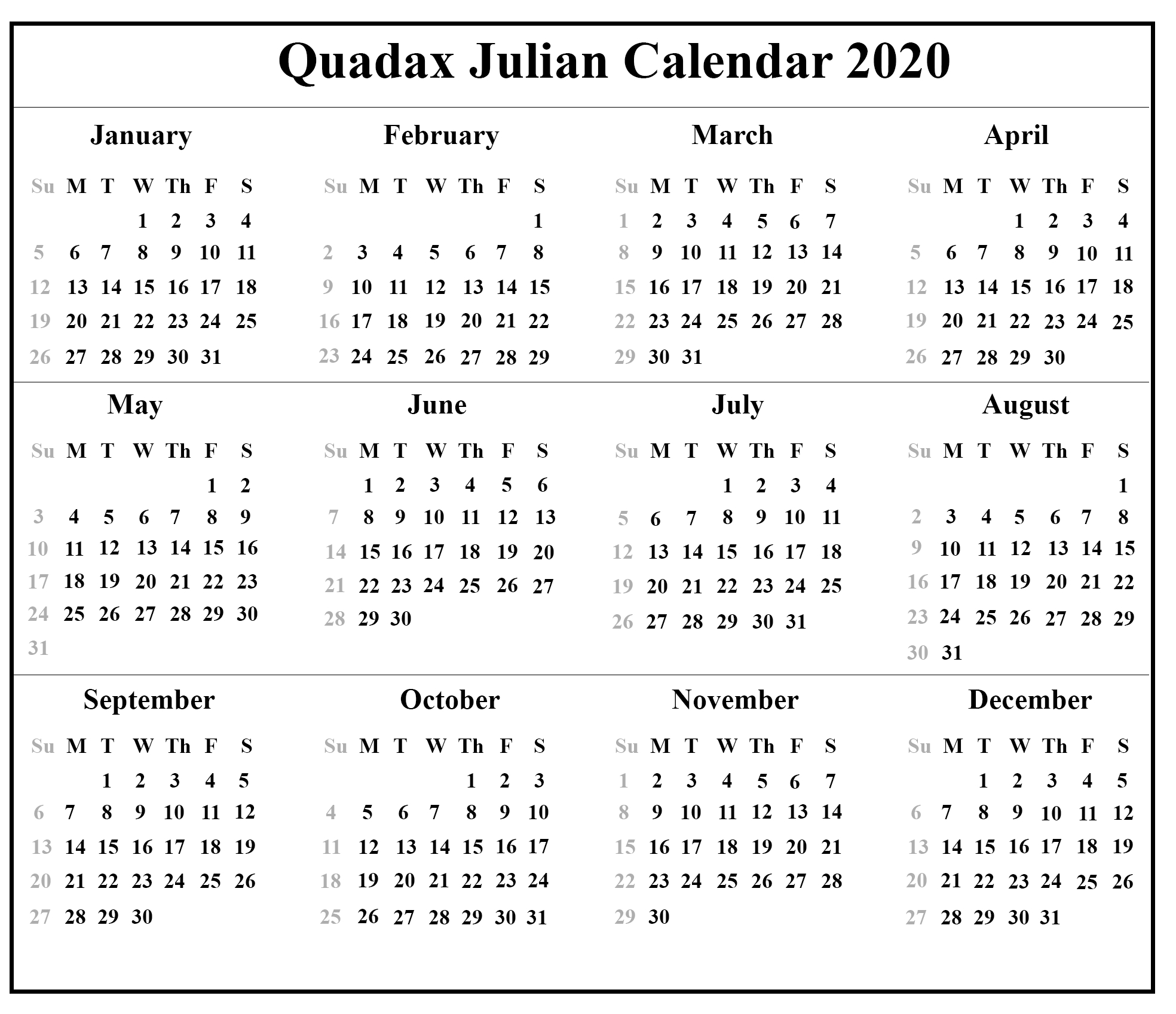 Julian Calendar 2020 - Togo.wpart.co