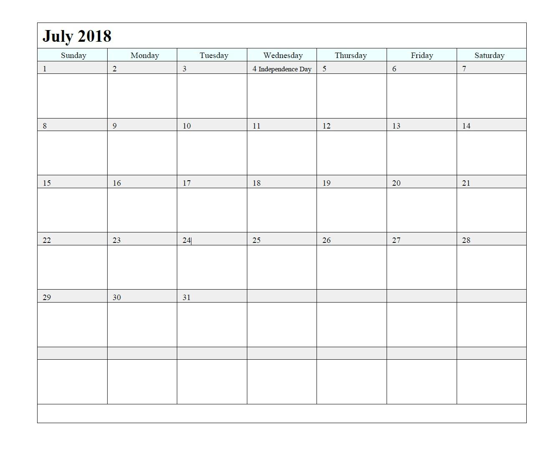 July 2018 Waterproof Calendar Template - Free Printable
