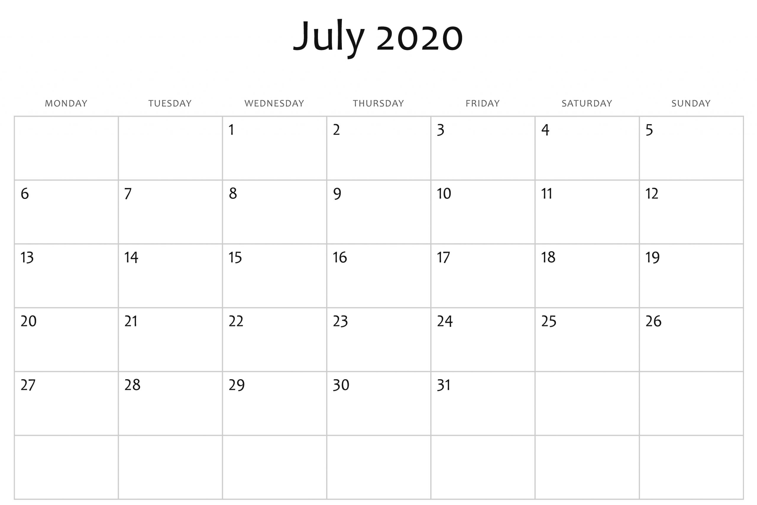 July 2020 Calendar Word | July Calendar, Free Printable