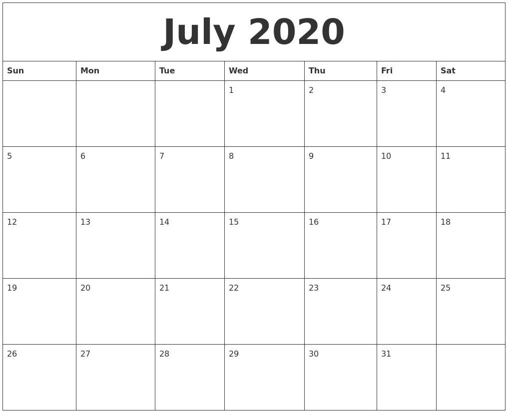 July 2020 Printable Calendars Free