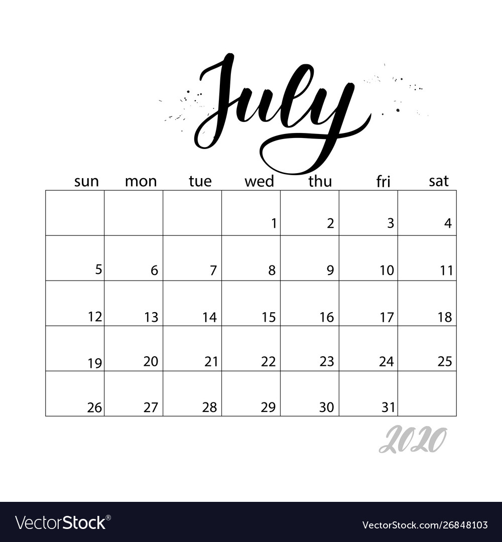July Monthly Calendar For 2020 Year