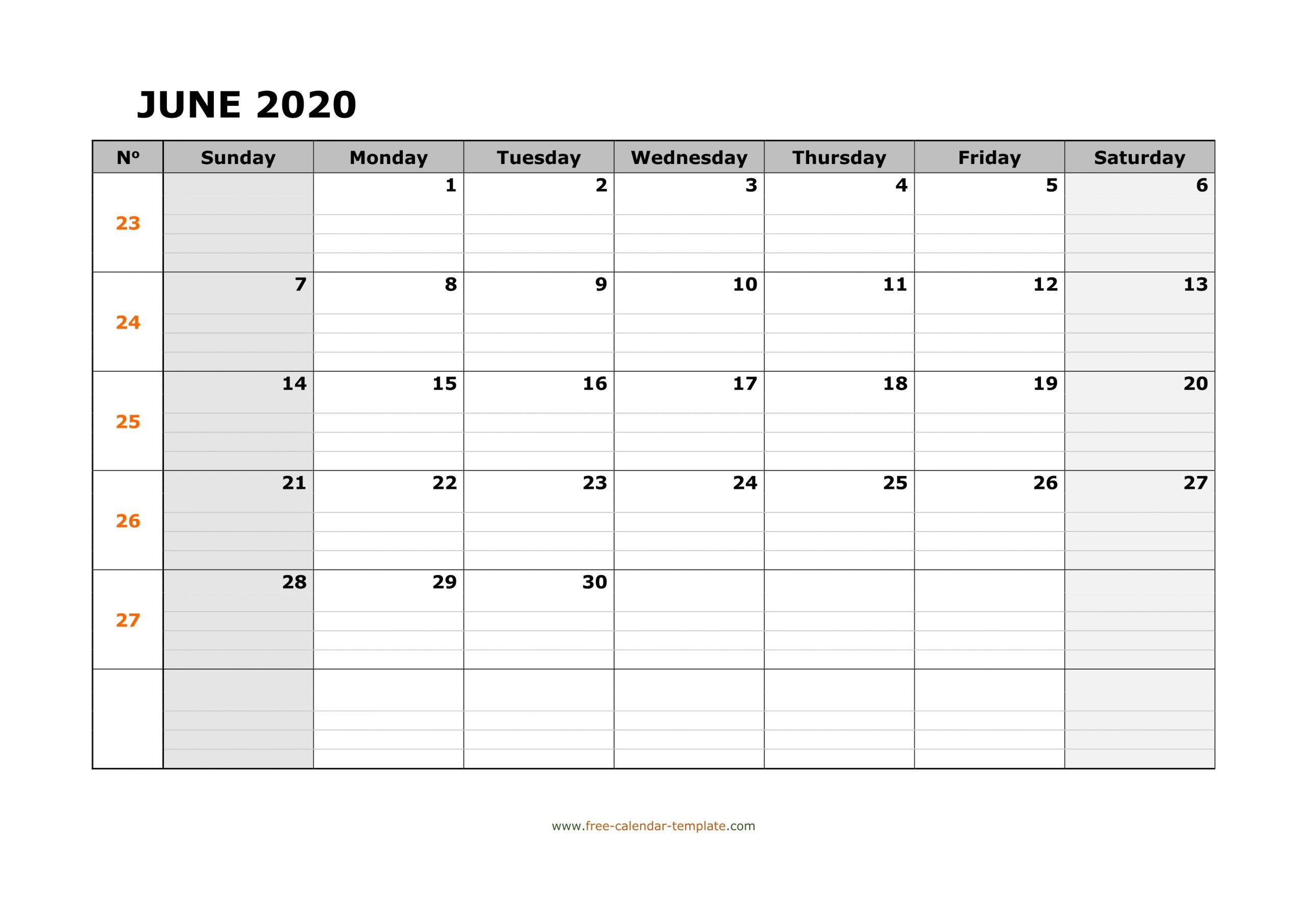 June 2020 Calendar Free Printable With Grid Lines Designed
