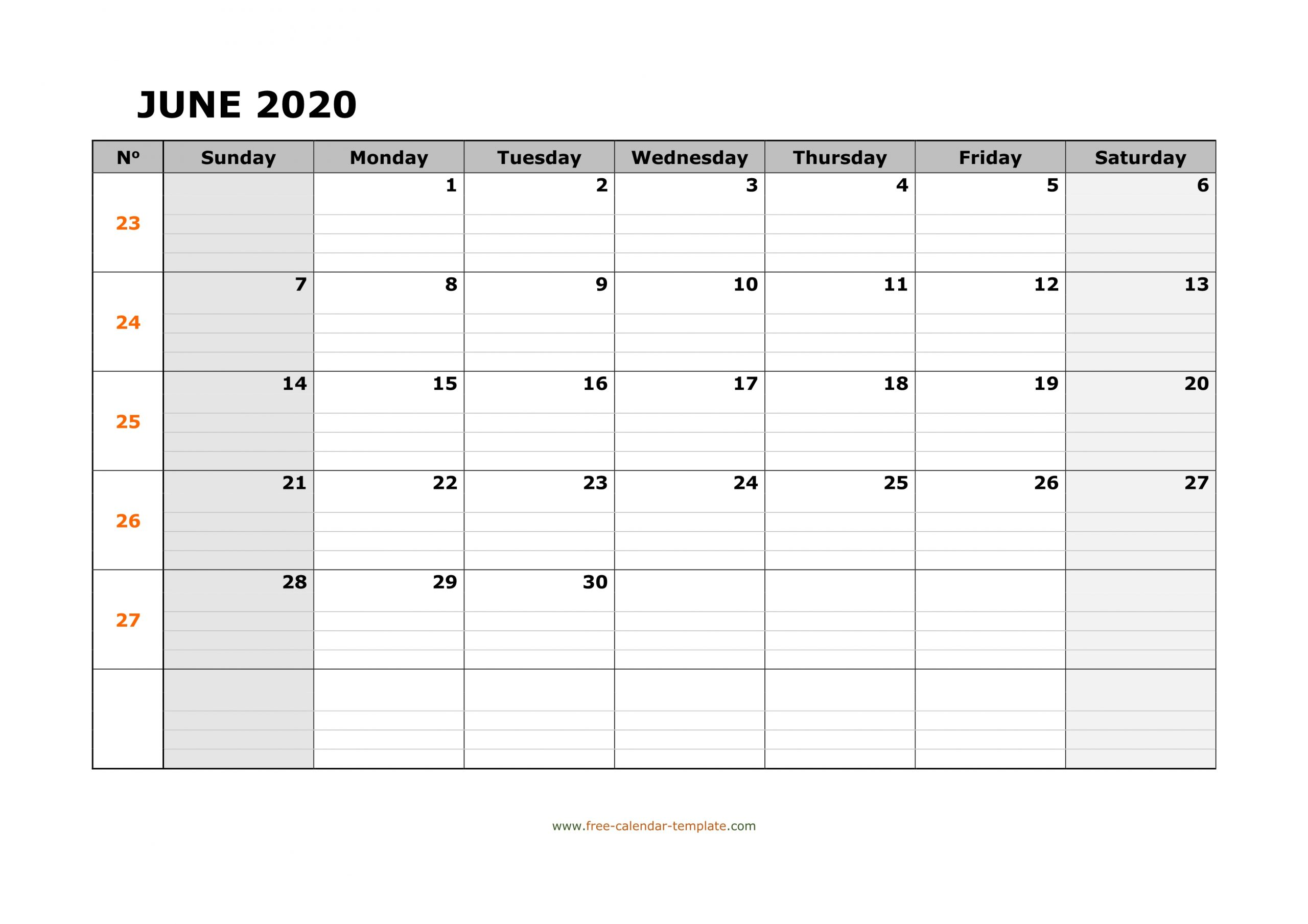 June 2020 Calendar Free Printable With Grid Lines Designed