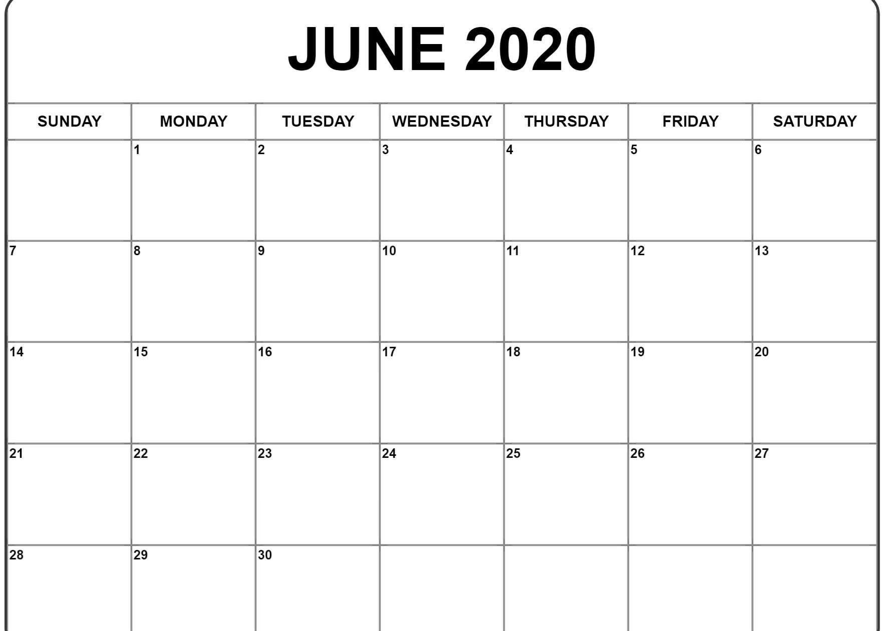June 2020 Calendar | Printable Calendar Template, Monthly