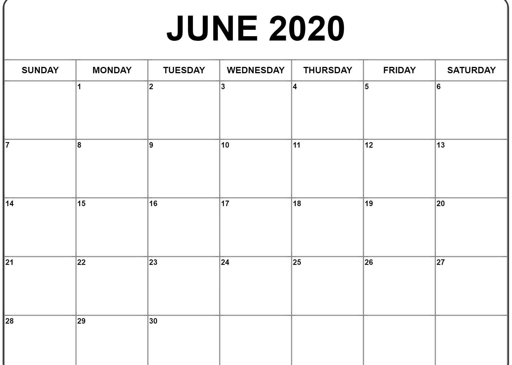 June 2020 Calendar   Printable Calendar Template, Monthly