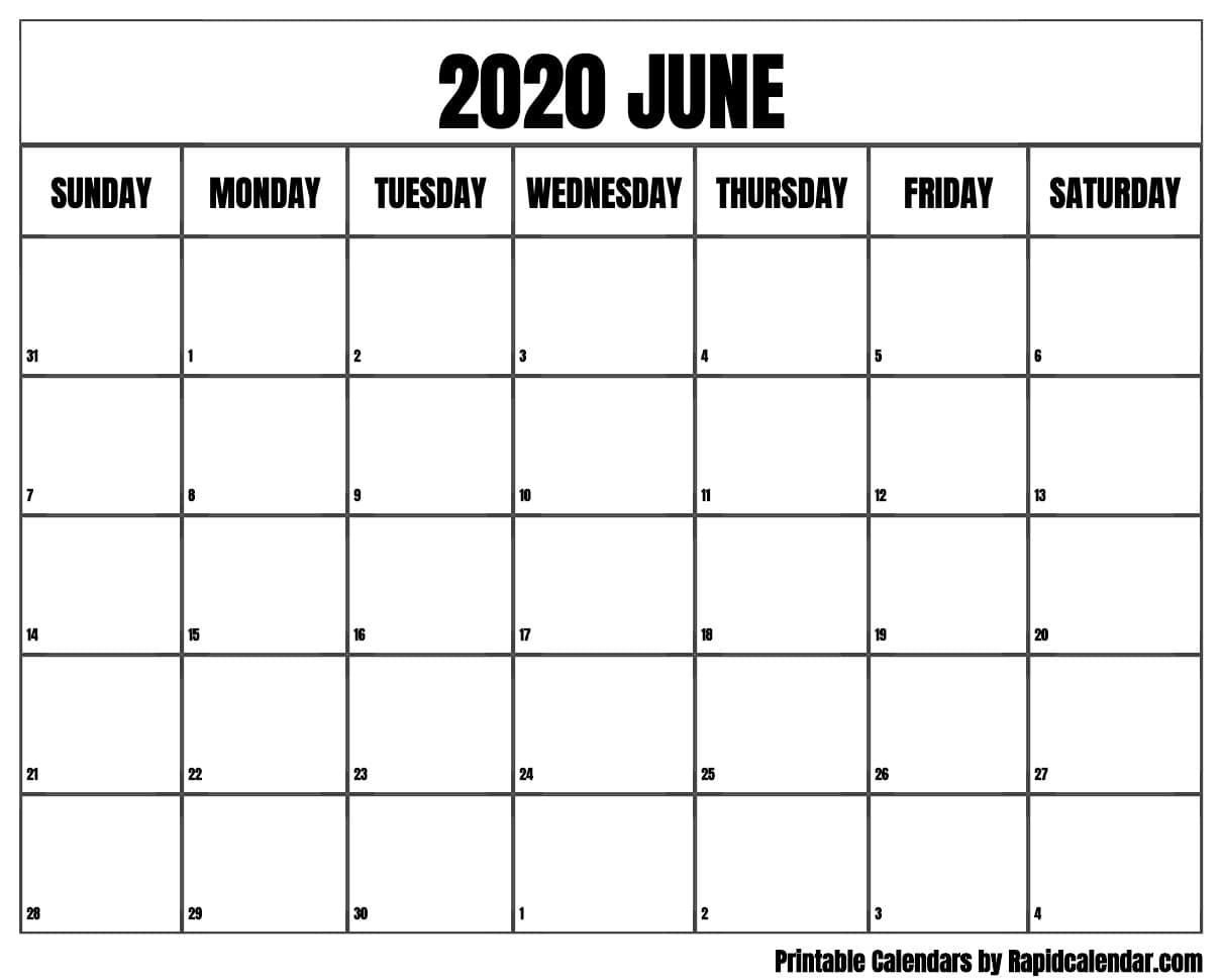 June 2020 Calendar Printable - Rapid Calendar