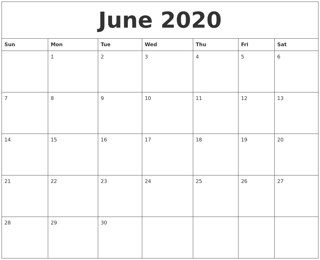 June 2020 Free Monthly Printable Calendar