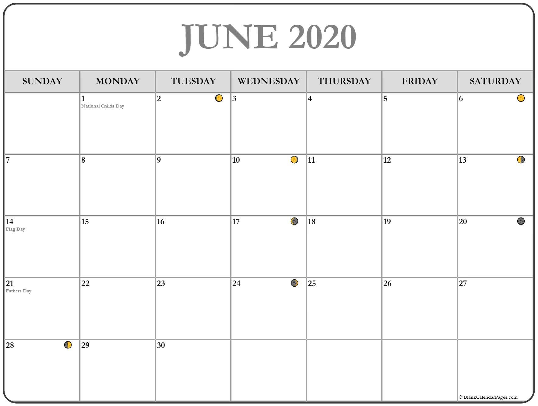June 2020 Moon Phases Calendar | Monthly Calendar Template