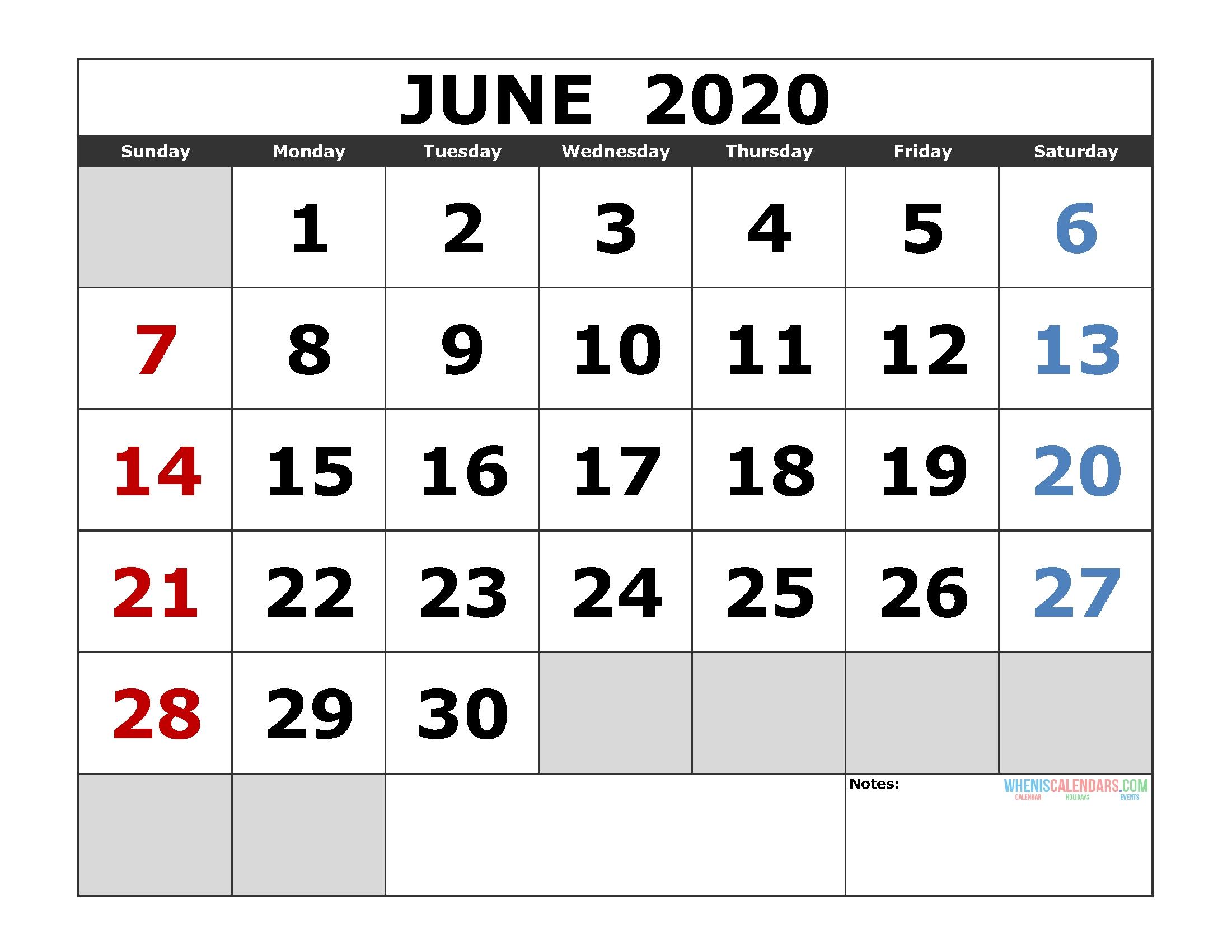 June 2020 Printable Monthly Calendar Template Monday Through