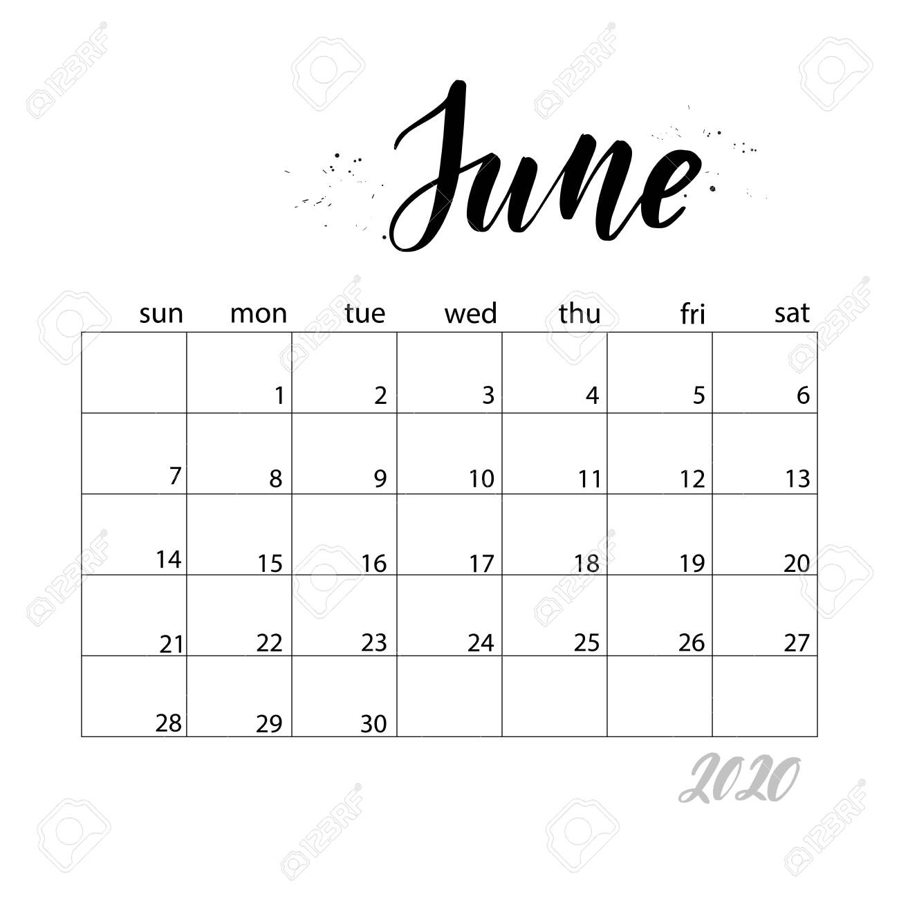 June. Monthly Calendar For 2020 Year. Handwritten Modern Calligraphy..