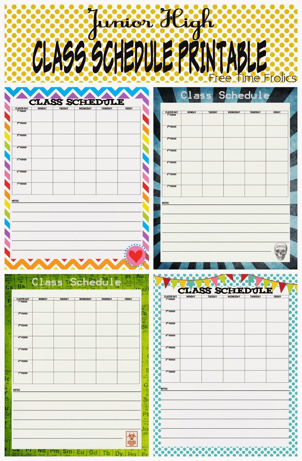 Junior High Class Schedule Printable | School Schedule