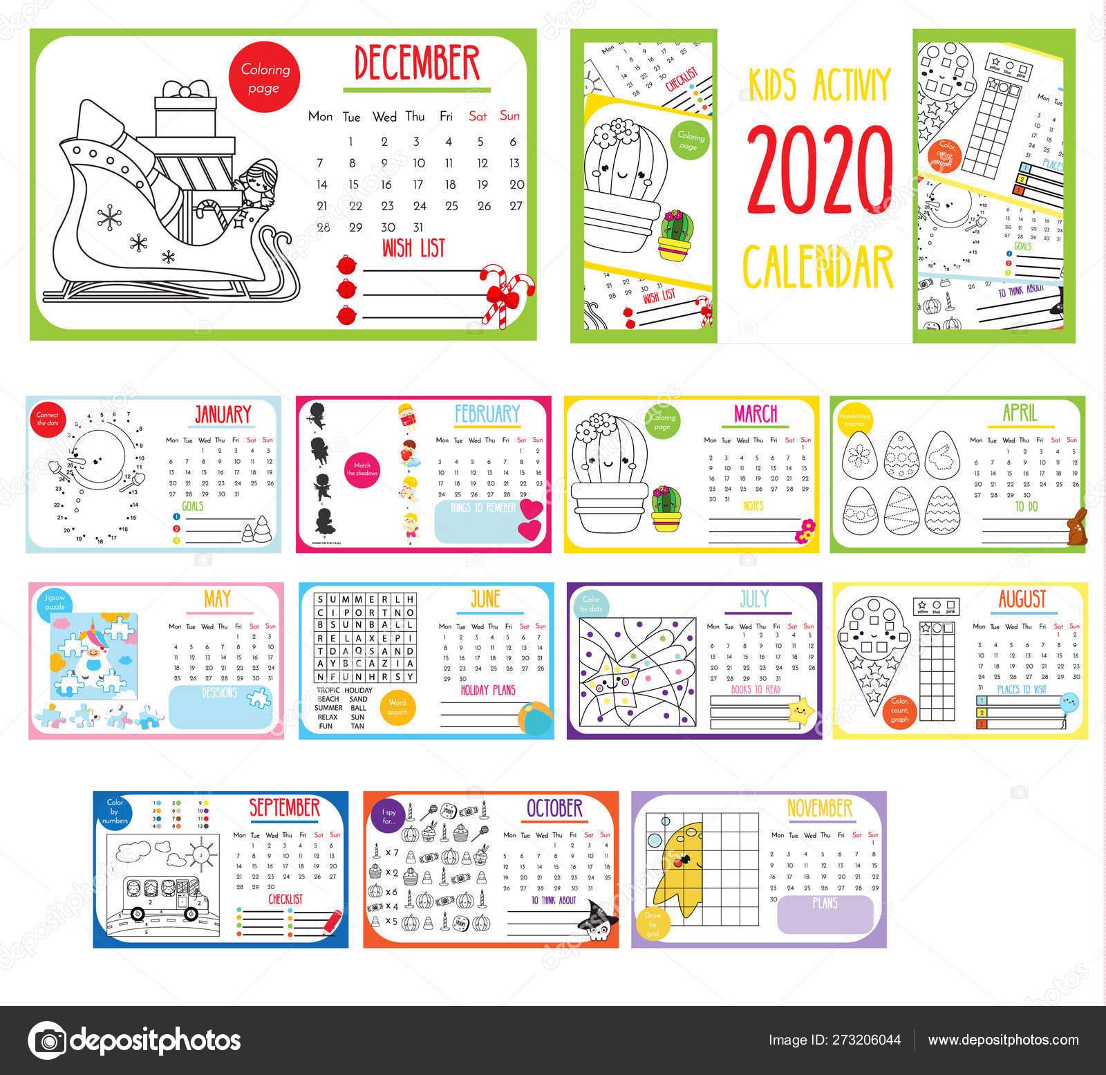 Kids Activity Calendar. 2020 Annual Calendar With