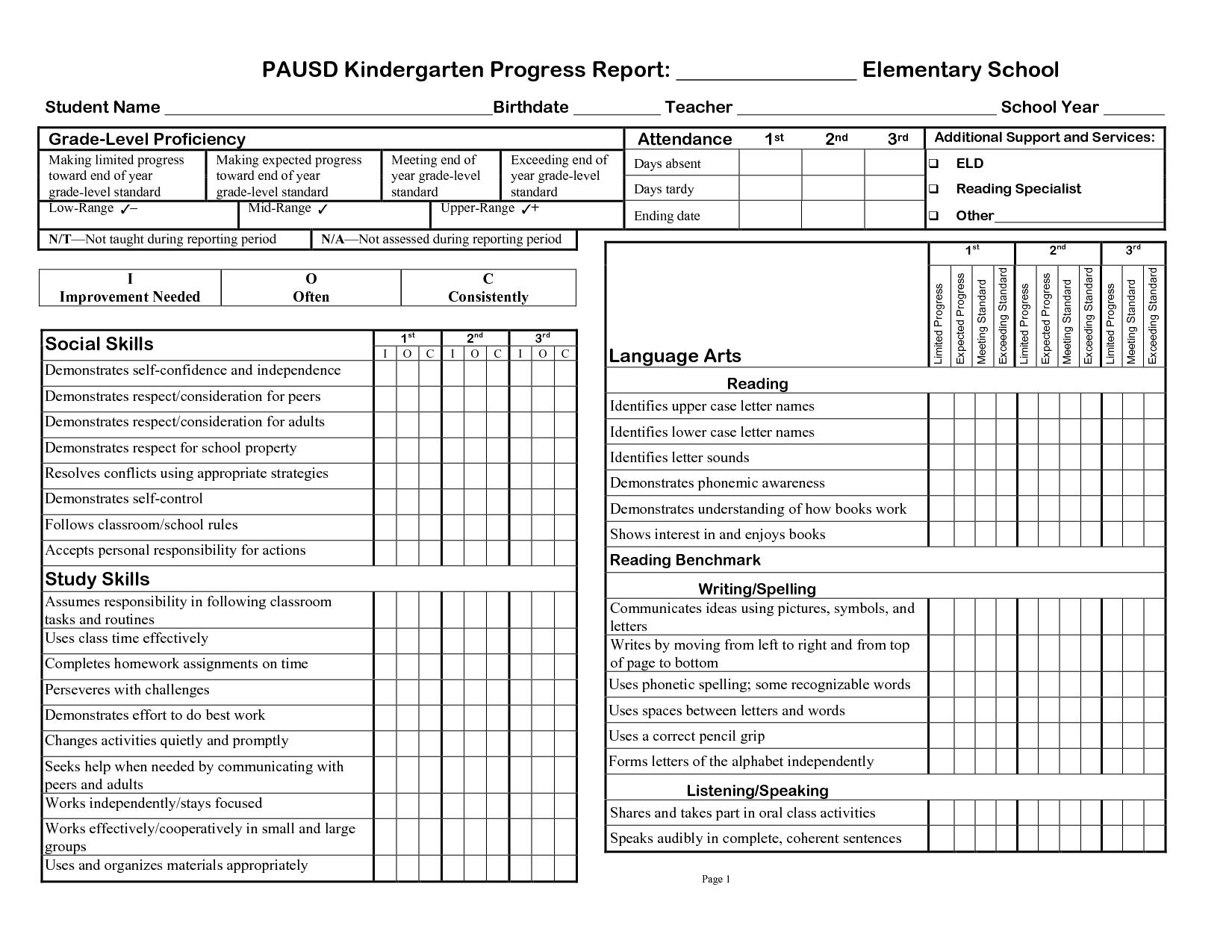 Kindergarten Social Skills Progress Report Blank Templates