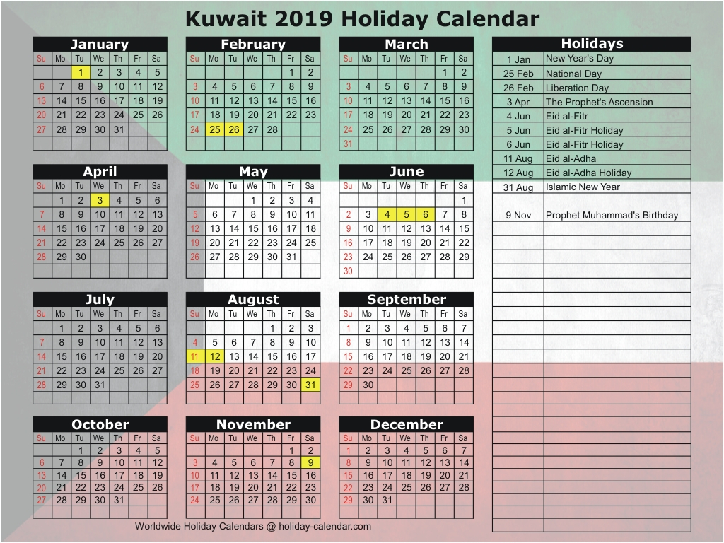 Kuwait 2019 / 2020 Holiday Calendar