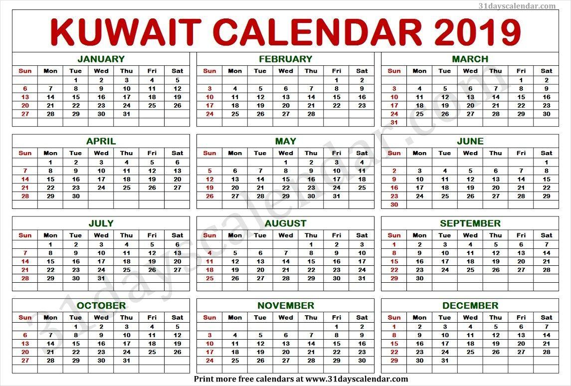 Kuwait Calendar 2019 | Calendar 2019 Template, 2019 Calendar