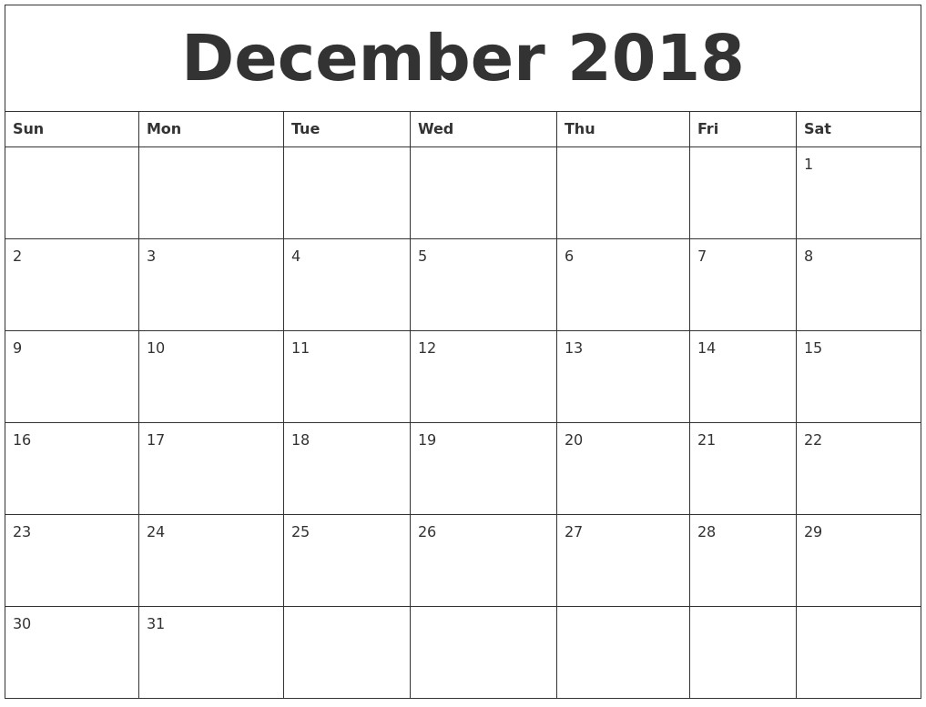 Large Squares Calendar For December 2018 | Calendar Template