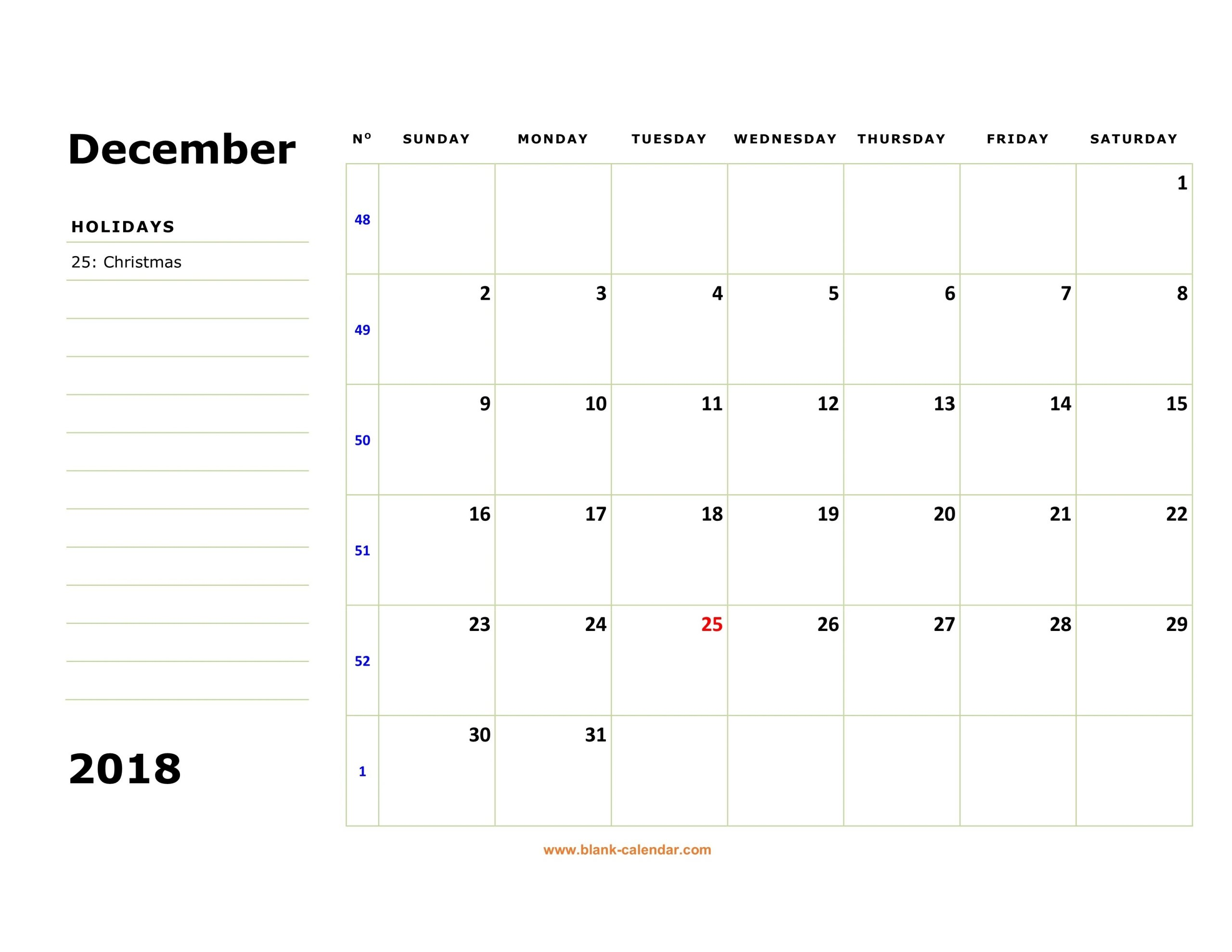 Large Squares Calendar For December 2019 | Example Calendar
