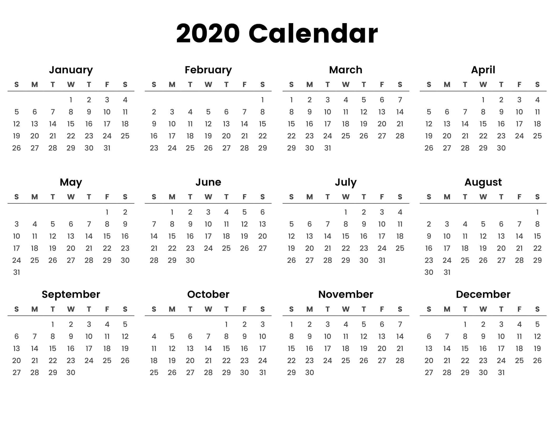 Large Yearly Calendar 2020 With Notes Pdf - Set Your Plan