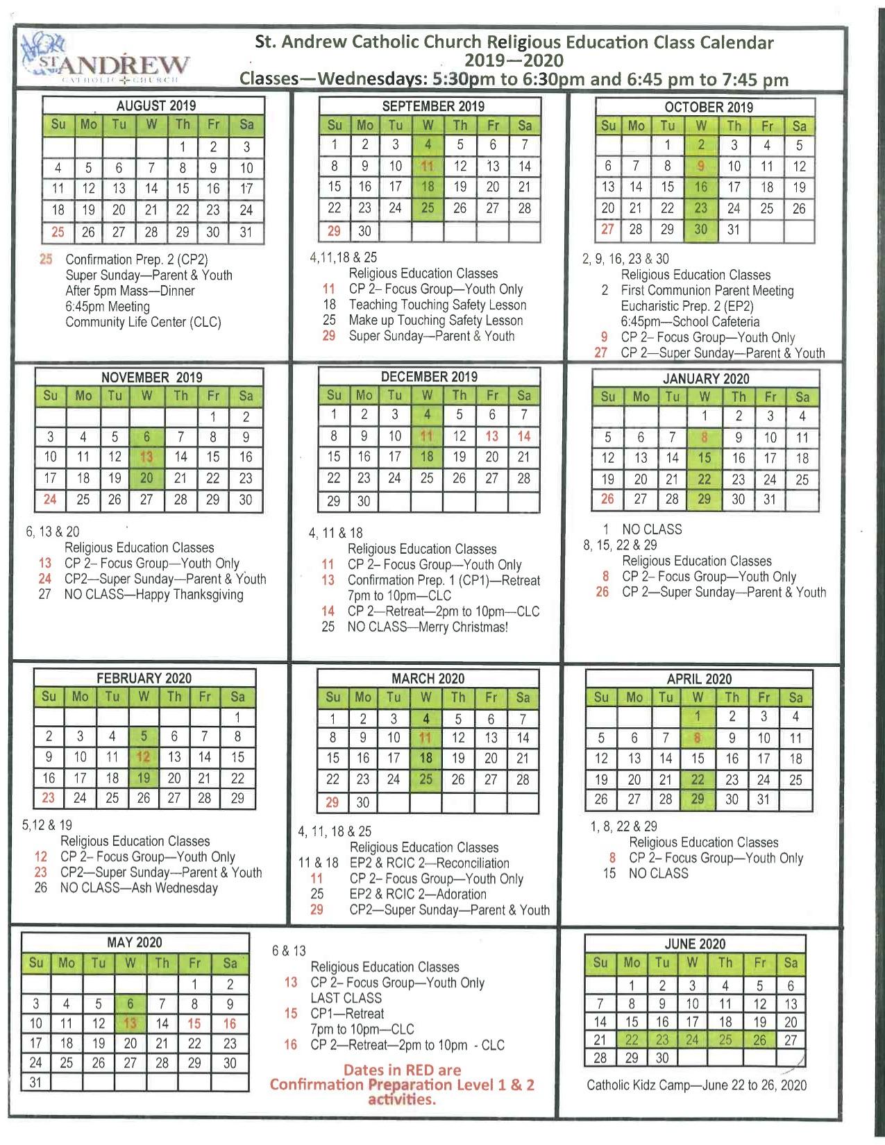 Liturgical Calendar - St. Andrew Catholic School