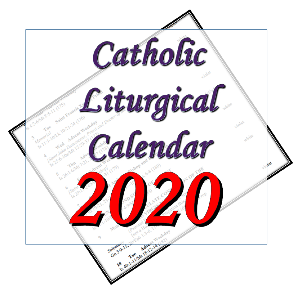 Liturgytools: Catholic Liturgical Calendars For 2020