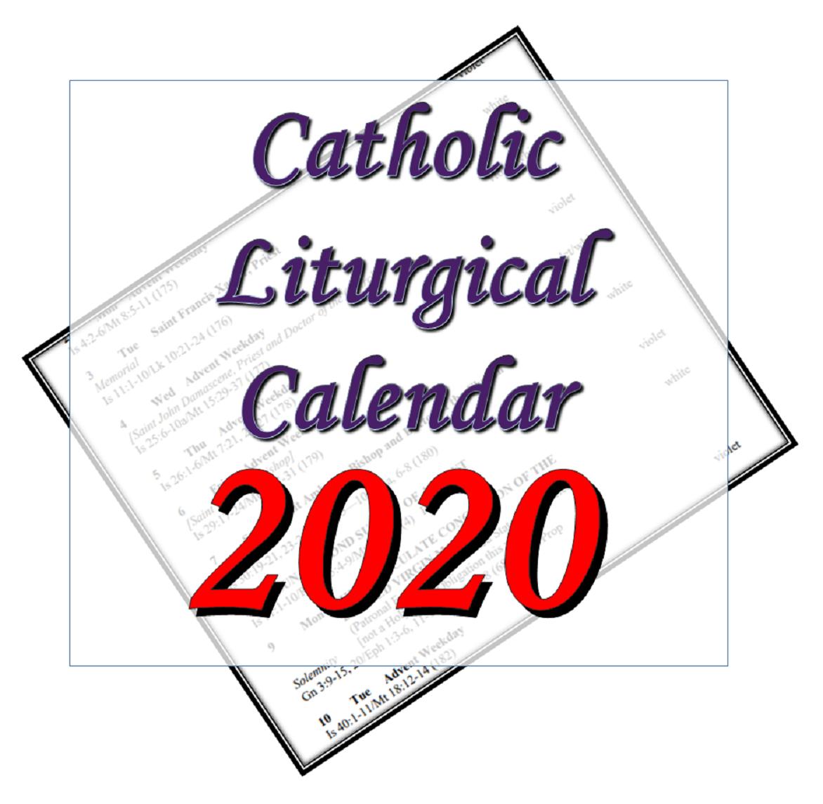 Liturgytools: Catholic Liturgical Calendars For 2020