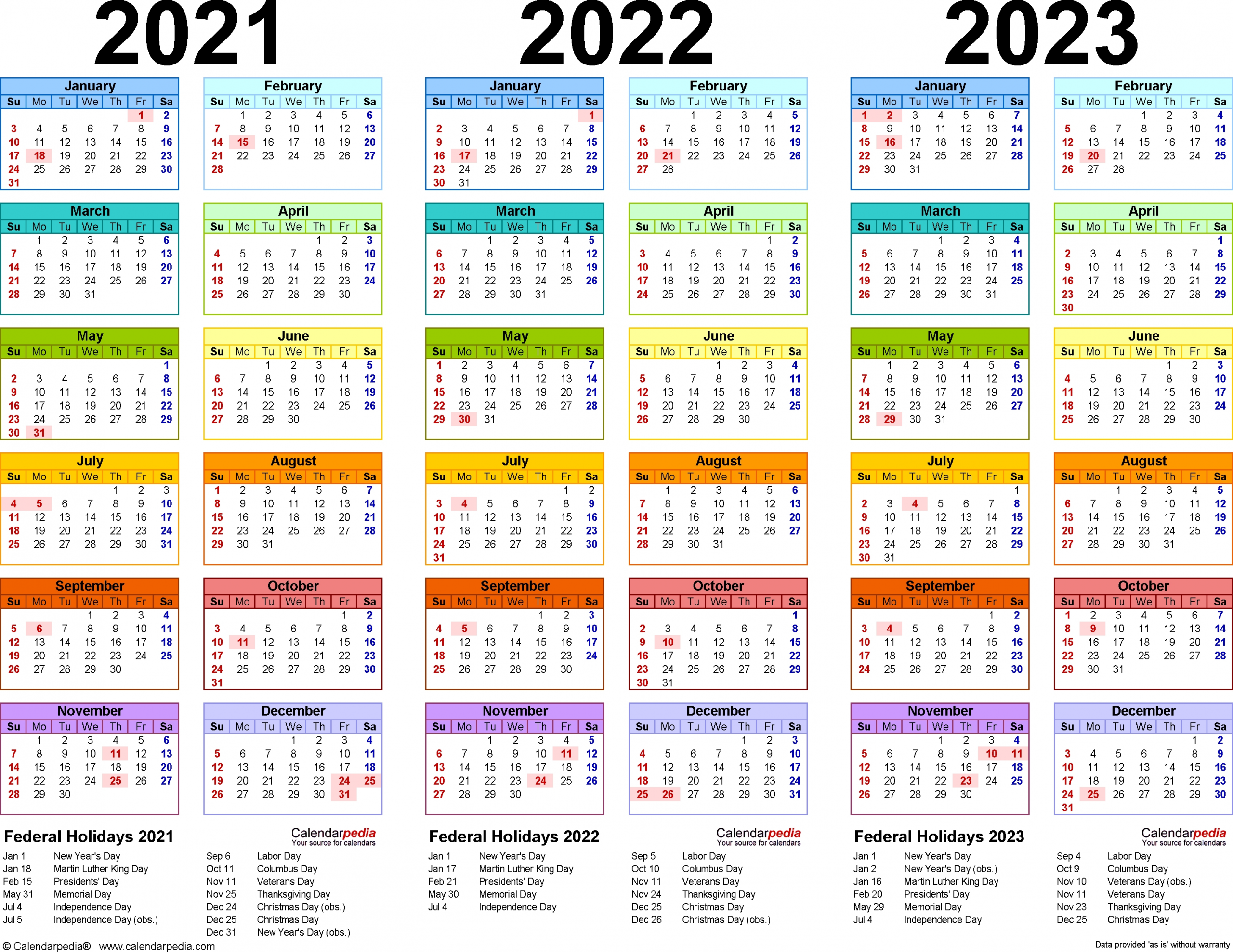 Lovely 3 Year Calendar 2022 To 2024 : Mini Calendar Template
