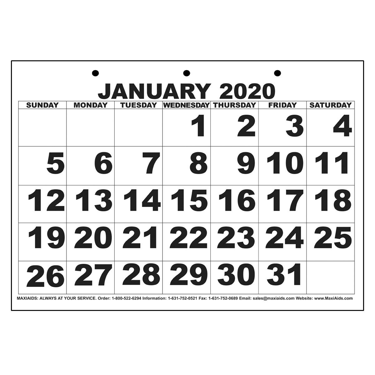 Low Vision Print Calendar - 2020