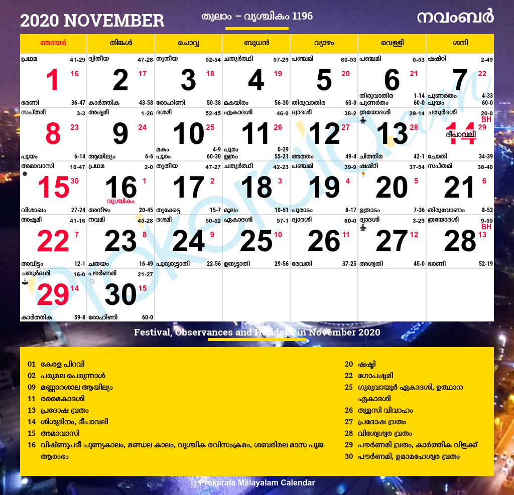 Collect November 2020 Malayalam Calendar