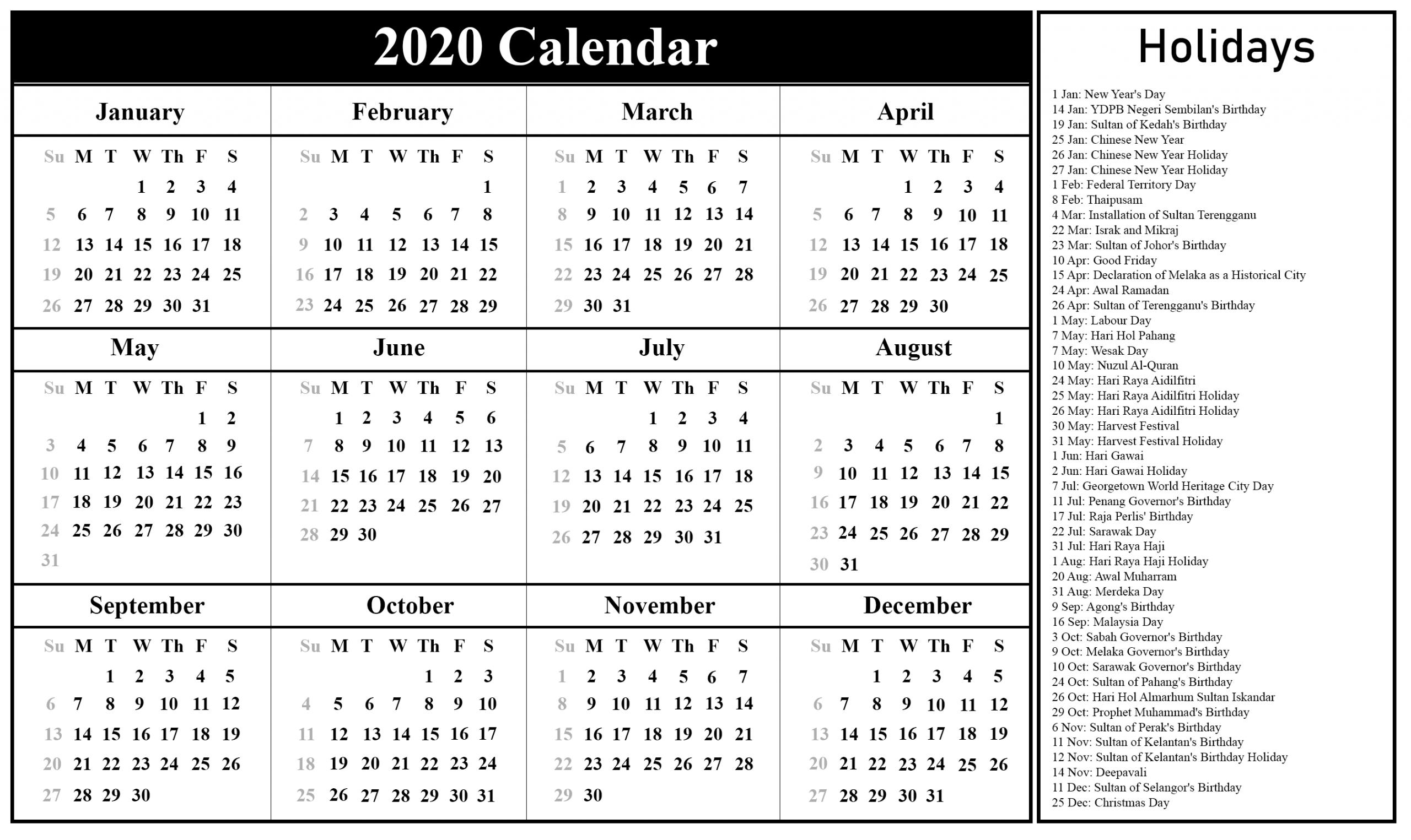 Malaysia Calendar 2020 Printable | Printable March Calendar