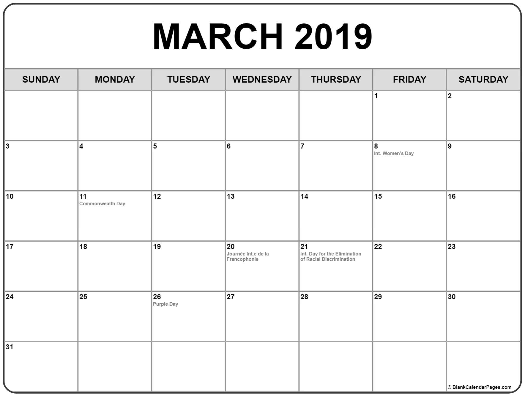 March 2019 Calendar Canada With Holidays - Free Printable