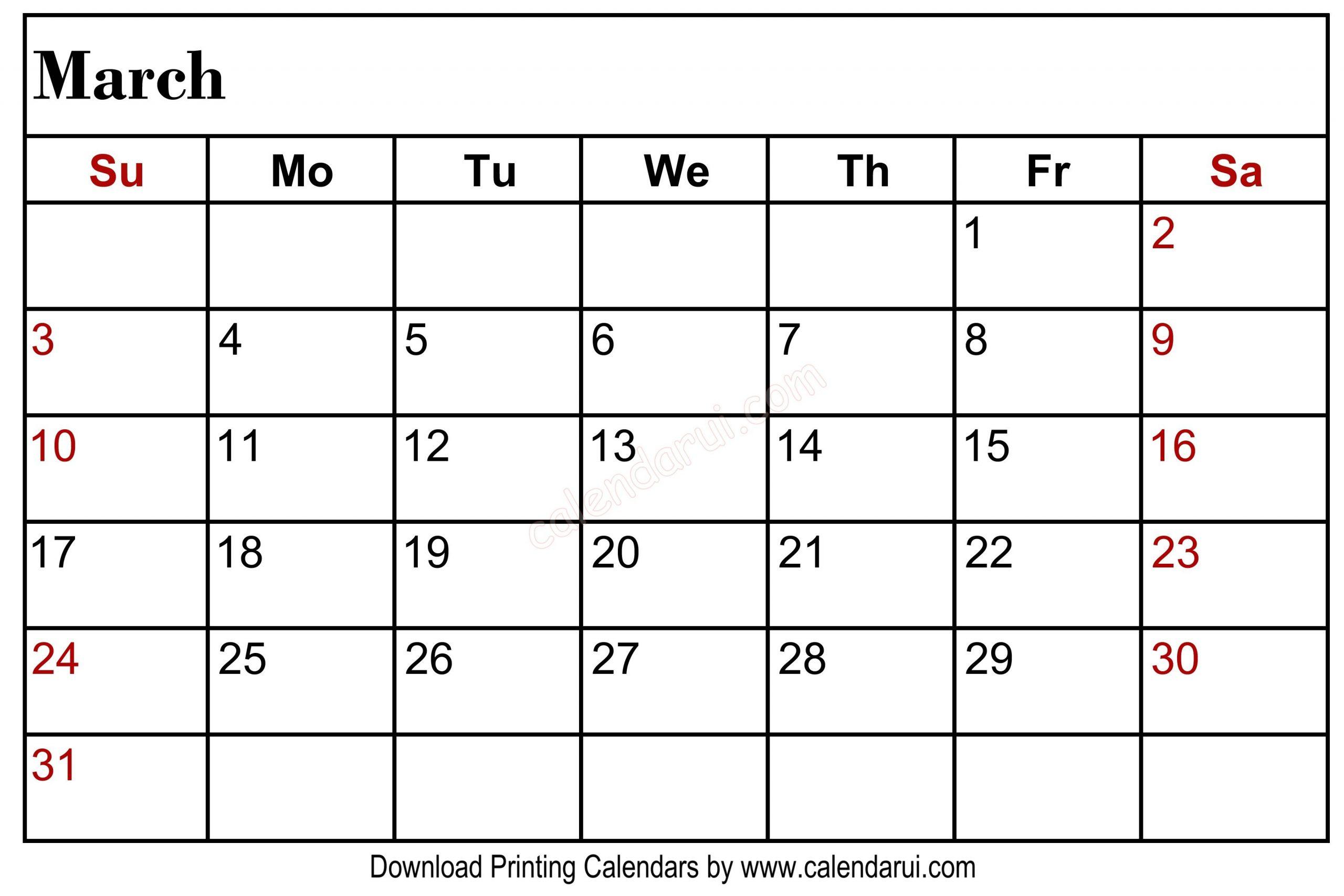 March 2020 Blank Calendar Printable Left Header | Blank