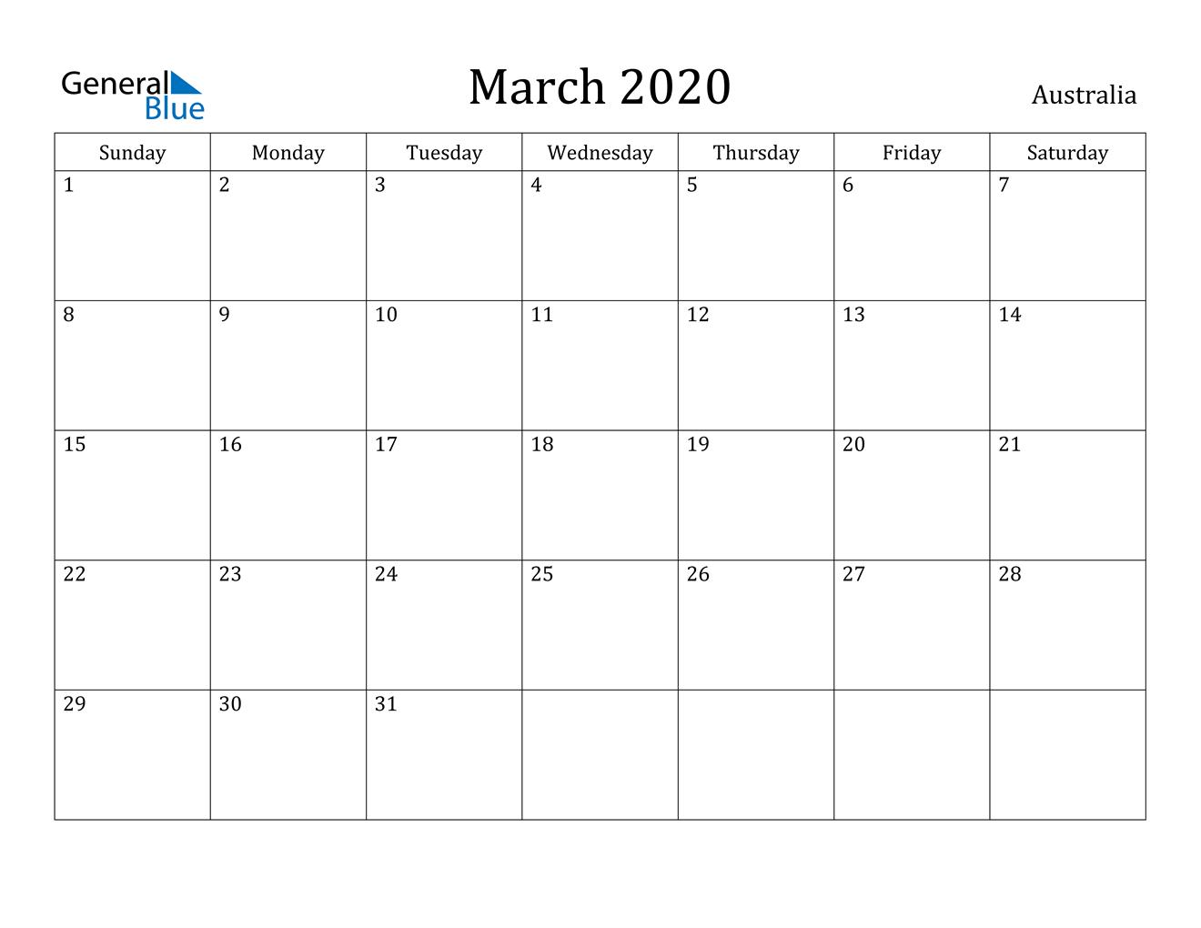 March 2020 Calendar - Australia
